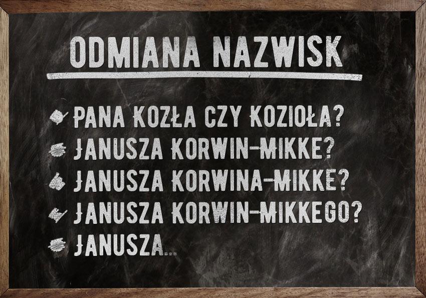 Odmiana nazwisk. Zapytam pana Kozioła, czy zna Janusza Korwin-Mikkego - Polszczyzna.pl