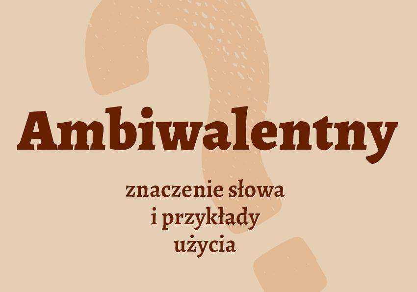 Ambiwalentny – definicja i przykłady użycia słownik co to znaczy Polszczyzna.pl