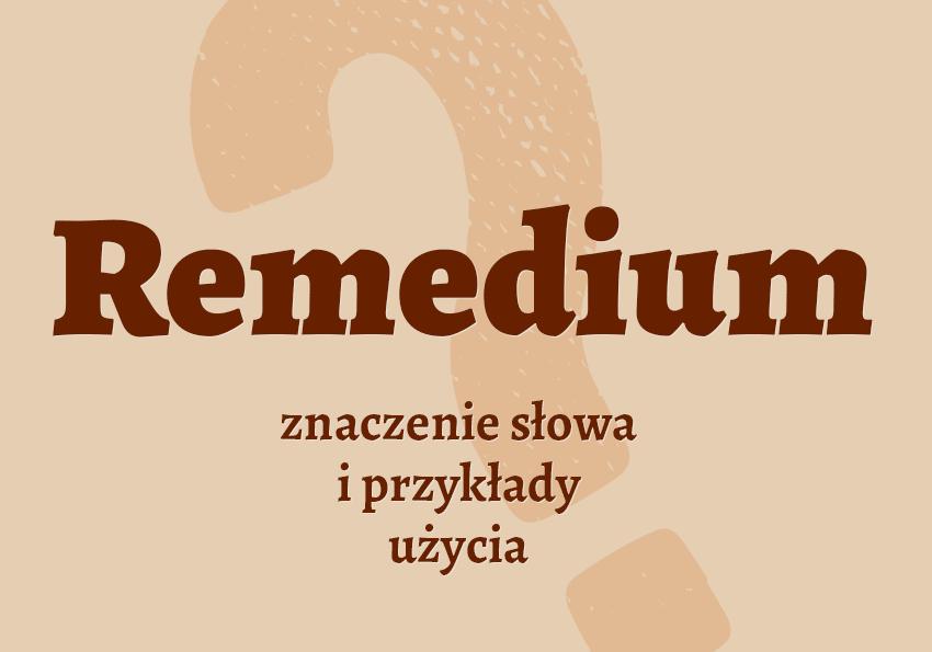 Remedium co to jest słownik definicja znaczenie słowa przykłady użycia Polszczyzna.pl