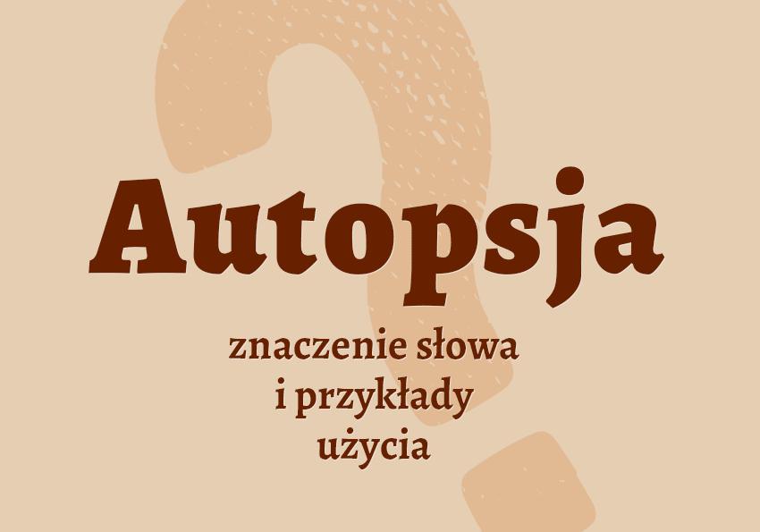 Autopsja co to jest słownik definicja znaczenie słowa przykłady użycia Polszczyzna.pl