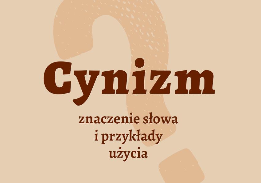 Cynizm co to znaczy słownik definicja znaczenie słowa przykłady użycia synonim cynik inaczej cynizm Polszczyzna.pl