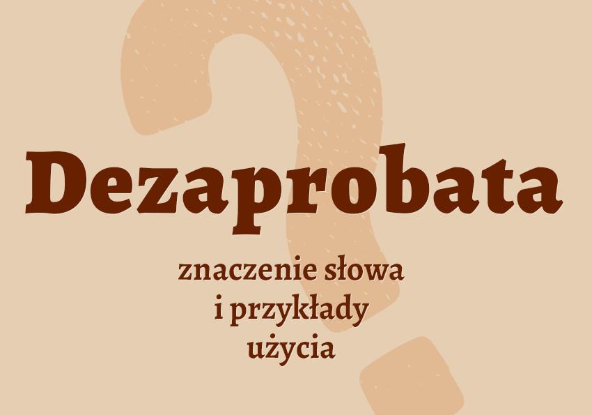 dezaprobata co to znaczy co to jest słownik definicja znaczenie słowa przykłady użycia synonim etymologia dezaprobować czyli Polszczyzna.pl