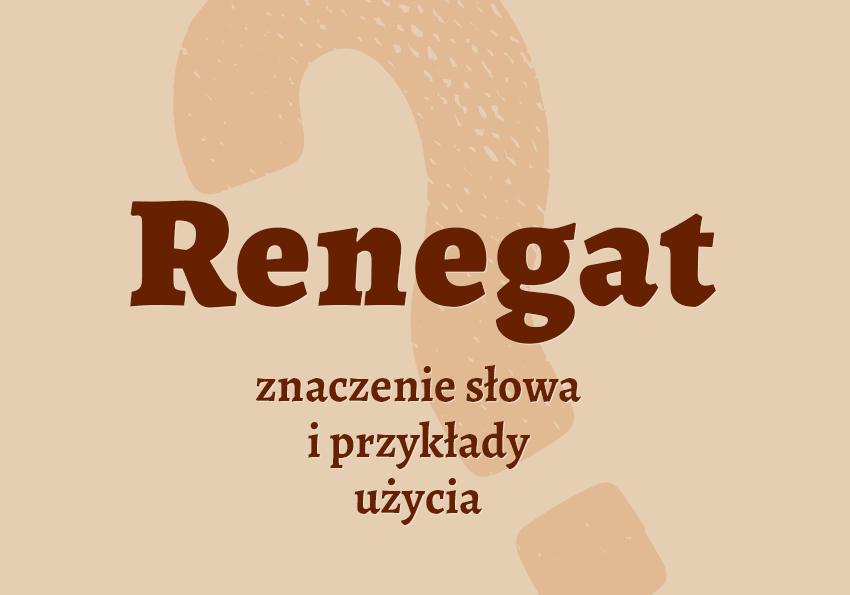 renegat kto to jest co to znaczy definicja renegat co to jest znaczenie słownik definicja znaczenie słowa przykłady użycia synonim Polszczyzna.pl