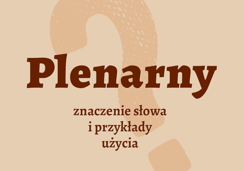 plenarny co to znaczy hasło hasła co to jest znaczenie definicja pojęcie czym jest jak nazwać odmiana pokrewne plenarny synonim inaczej słownik Polszczyzna.pl