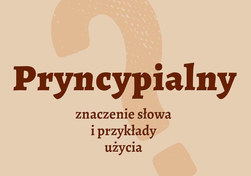 pryncypialny to znaczy jaki czyli co jaki to jest znaczenie definicja słowa wyrazu hasło krzyżówka jaki to jest przykład przykłady pryncypialny synonim inaczej słownik Polszczyzna.pl