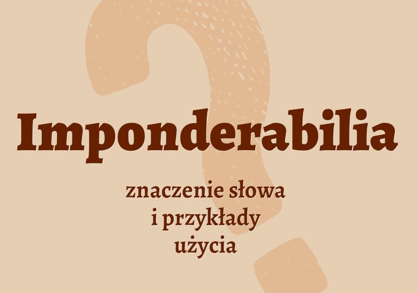 imponderabilia co to jest czym jest czym są znaczenie definicja hasło hasła krzyżówka pojęcie jak nazwać synonim odmiana wyrazy pokrewne przykłady użycia słownik Polszczyzna.pl