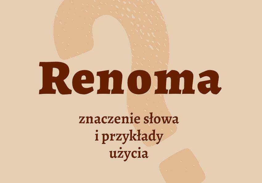 Renoma czyli Co to jest czym jest znaczenie słowa renomowany jaki definicja słowa synonim słownictwo przykłady użycia wyrazy pokrewne hasło krzyżówka inaczej słownik Polszczyzna.pl