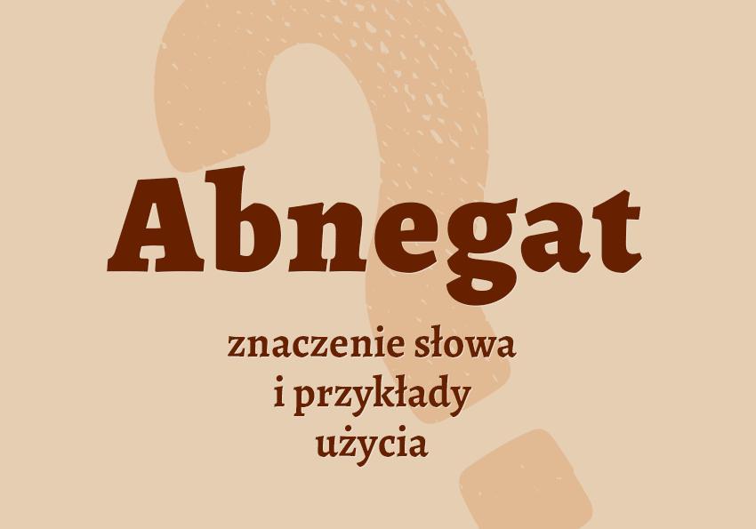 Abnegat kto to co to funkcja definicja znaczenie słownik Polszczyzna.pl