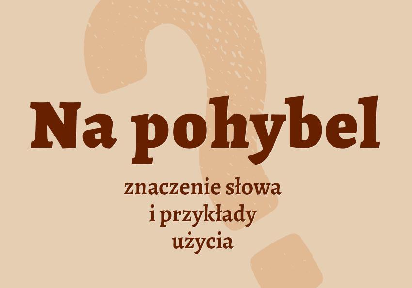 Na pohybel co to znaczenie definicja synonim powiedzenie słownik Polszczyzna.pl