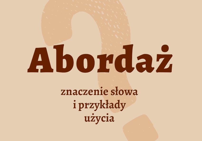 Abordaż znaczenie slang co to jest definicja przykłady słownik Polszczyzna.pl