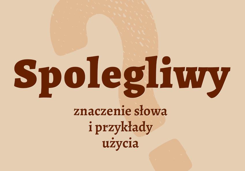Spolegliwy - czyli jaki. Co to znaczy? Definicja kto to jest spolegliwy znaczenie synonimy przykłady słownik Polszczyzna.pl