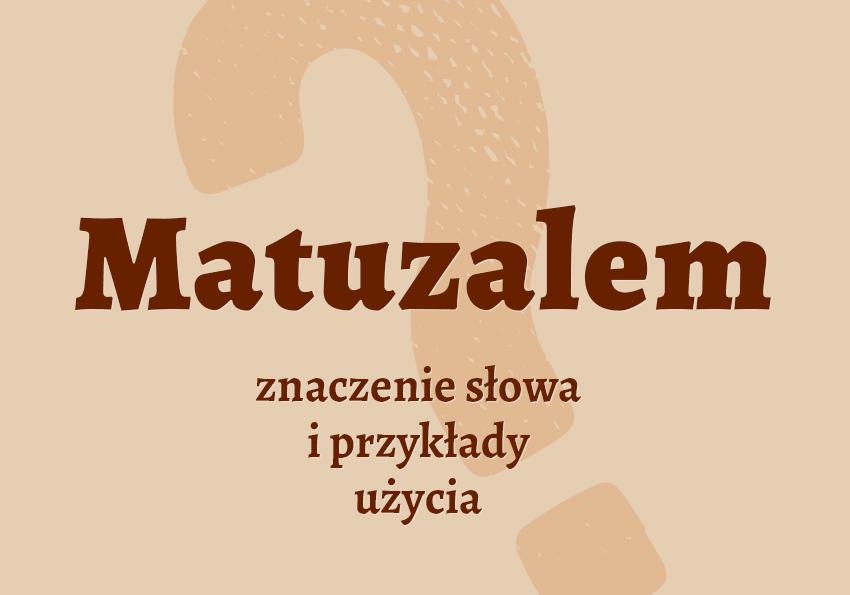 Matuzalem - kto to jest? Co to jest? Definicja, znaczenie. Biblizmy. Przypowieść. Słownik Polszczyzna.pl