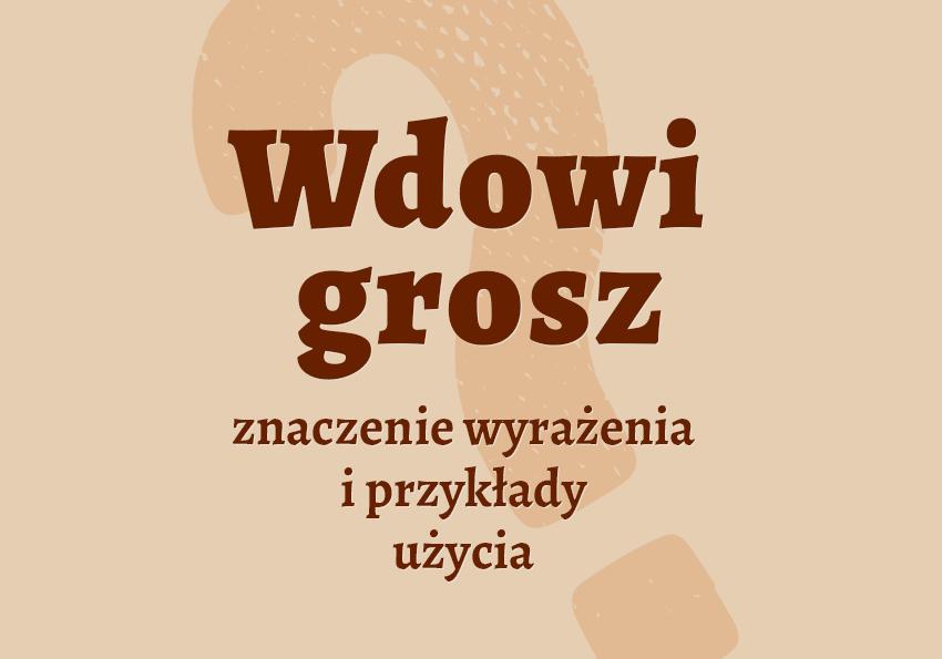 Wdowi grosz, czyli jaki, ile? Znaczenie, pochodzenie, przykłady. Biblizm, Biblia, słownik Polszczyzna.pl